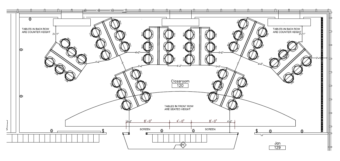 Furniture Layout of Taft Hall 100 and 120