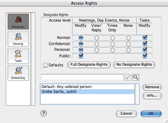 Setting access rights in UICal